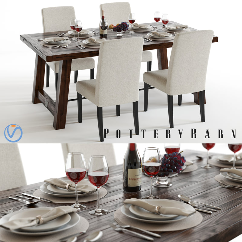 set pottery barn benchwright 3d model