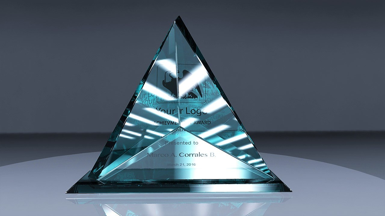 3d obj award glass