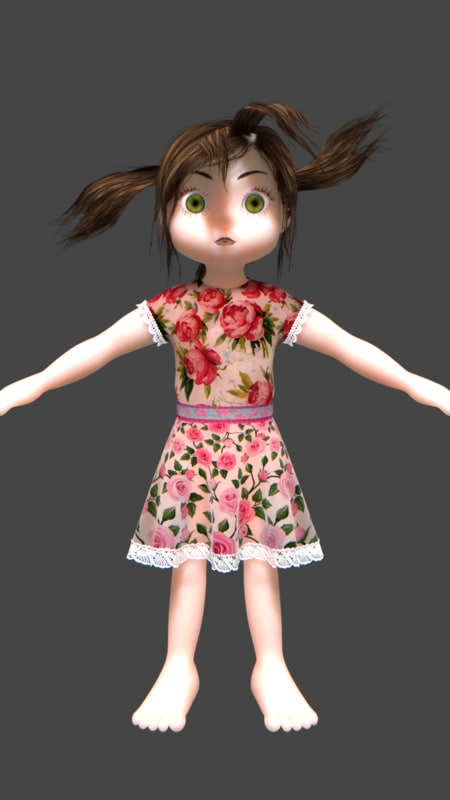 3d child female cartoon