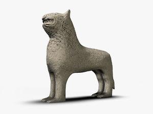 3d stone lion