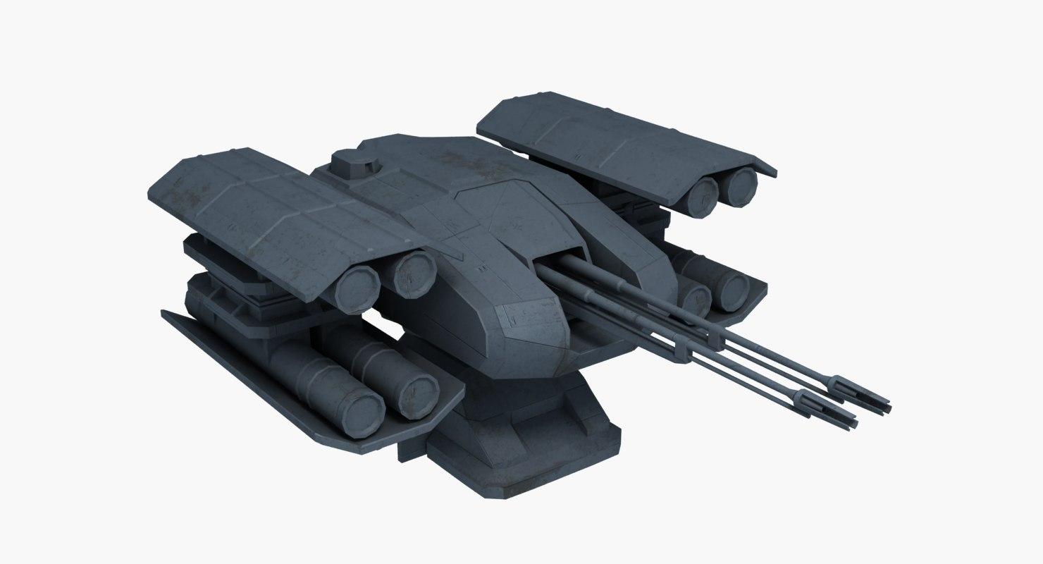 3d model sci-fi turret dt 16