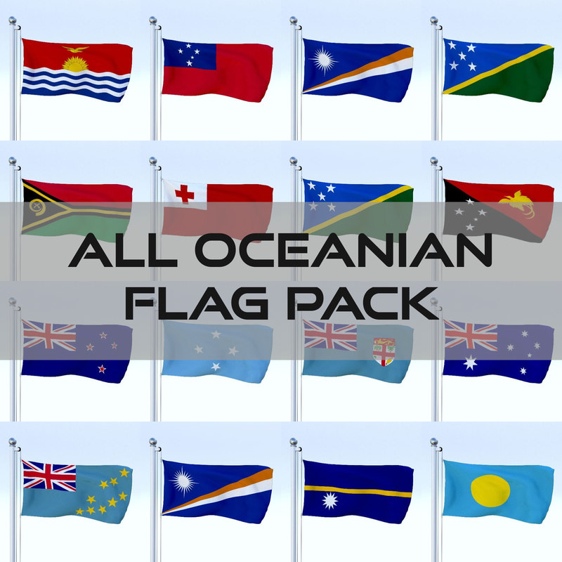 pack flags oceanian 3d model