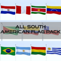 3d model pack flags south american