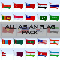 pack flags asian 3d model