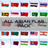 pack flags asian 3d model