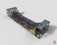 huge skate pipe pbr 3d fbx