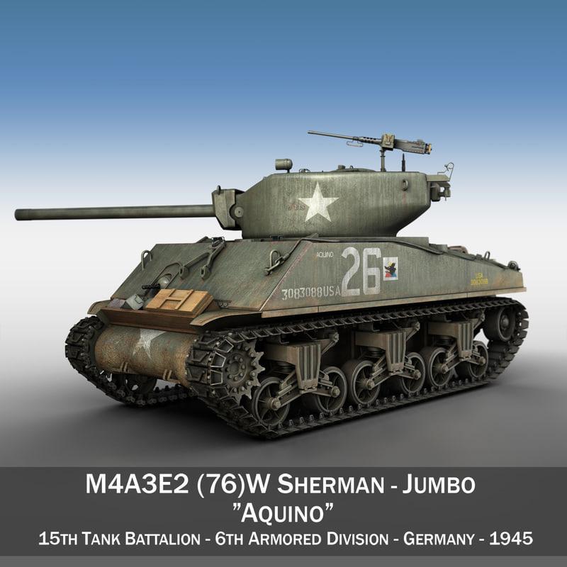 m4a3e2 sherman tank - 3d model