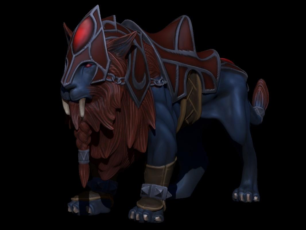 3d 3ds lion zbrush