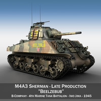 3ds max - shermans tank marine