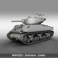 - m4a3e2 jumbo shermans 3d c4d