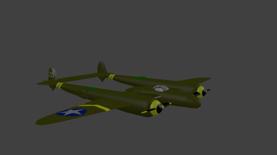 3d model p-38 lightning