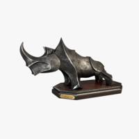 3d rhinoceros rhino statue model