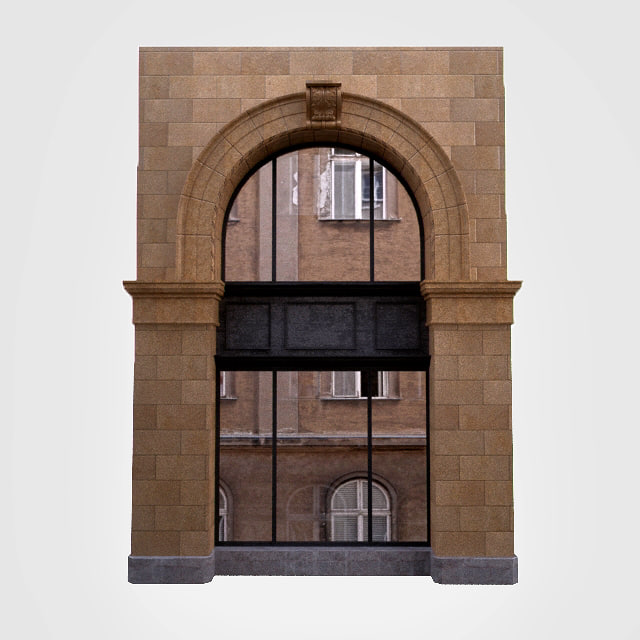 3d model architecture classic window