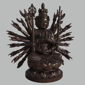 3d model thousand-hand bodhisattva