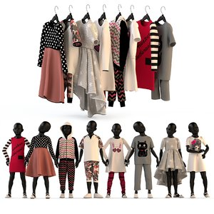 3d fashion clothing children set model