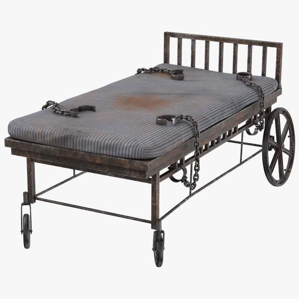 3d model asylum bed restraints