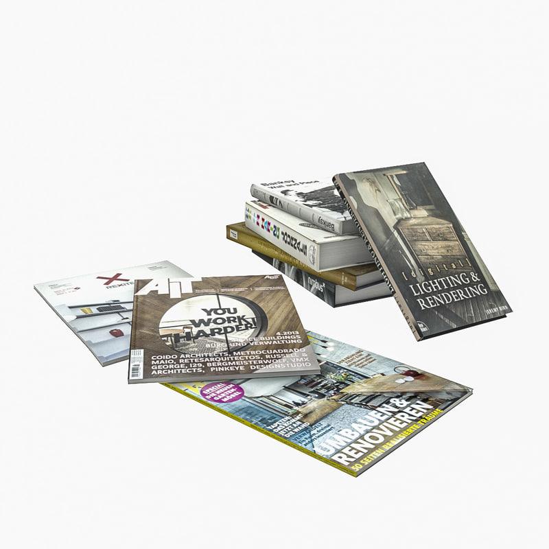 books magazines 3d model