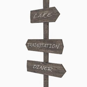 3d model wooden padle sign