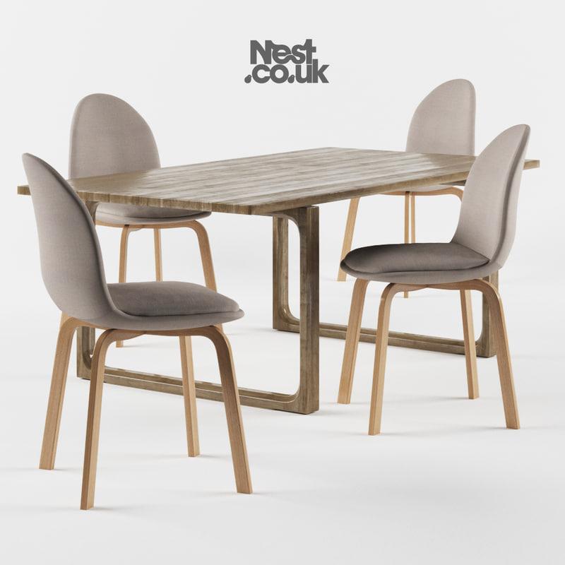 3d model of sammen legs oak