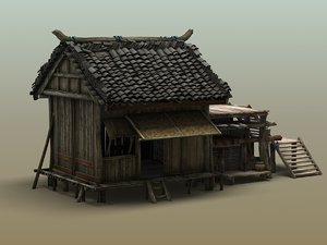 3d model old wood house