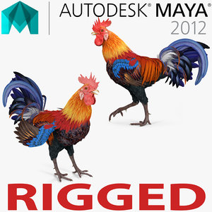 3d rooster rigged