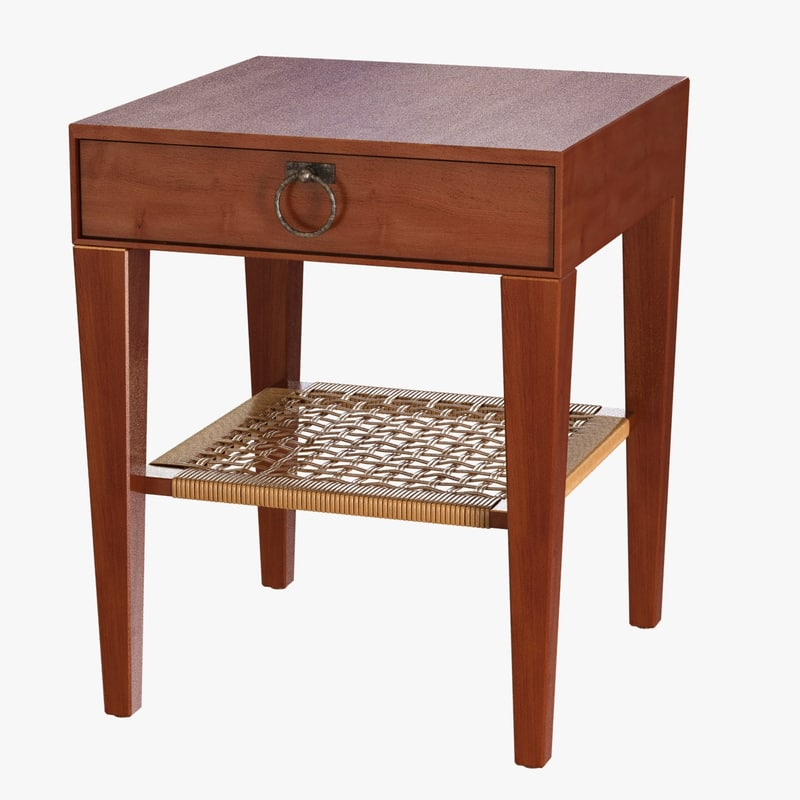 3d model bedside table rattan shelf