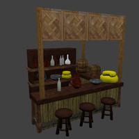 3d medieval tavern balcony model