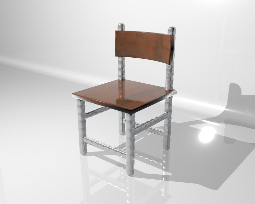 free metal wood chair 3d model