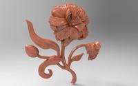 3d bas relief carnation cnc model