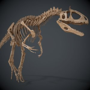 allosaur skeleton 3d obj