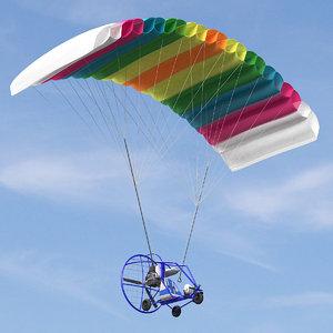 3d powered paraglider model