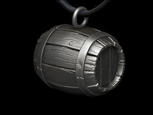 3d model barrel concept necklace print