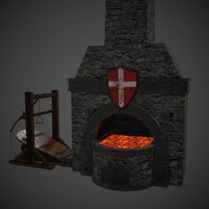 3d model blacksmith smith furnace