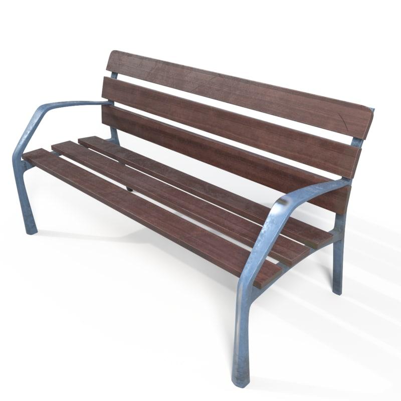 3d outdoor wooden bench model