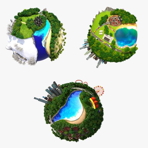 3d model planet world