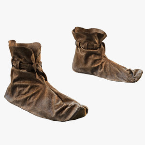 3d model medieval leather shoes