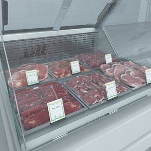 3d custom refrigerated showcase meat model