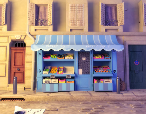 3d cartoon fruit shop