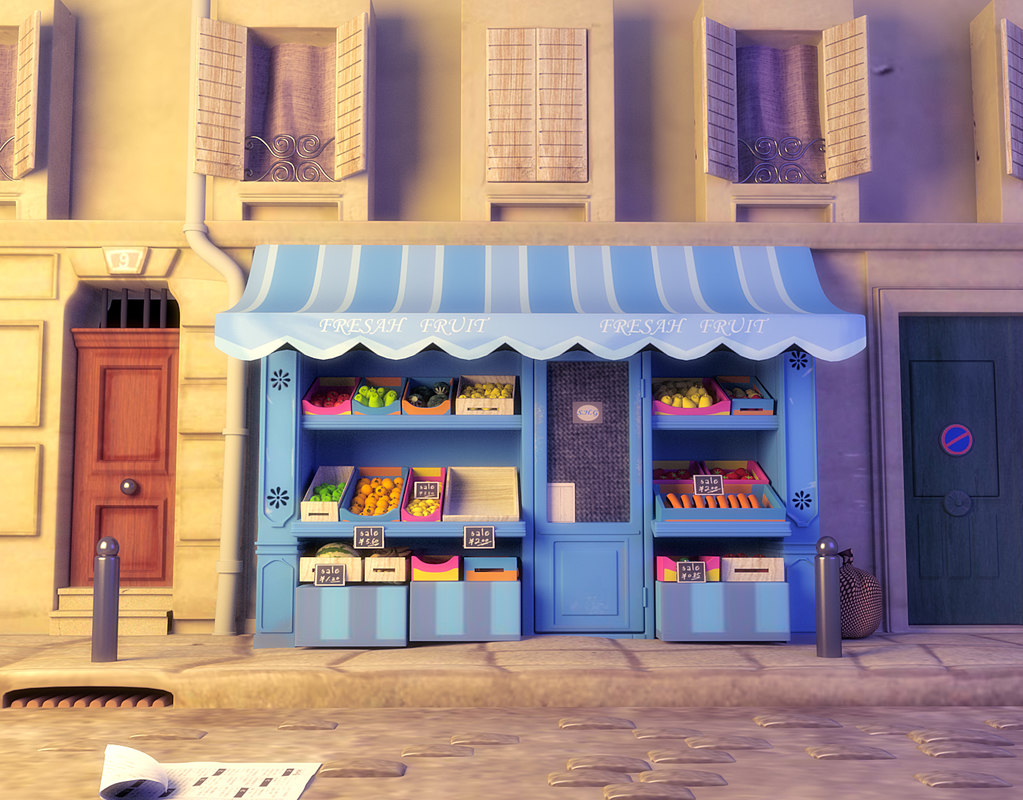 3d cartoon fruit shop