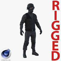swat man afro american c4d