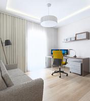 comfortable working room yellow 3d model