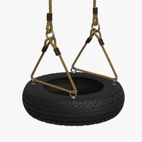 3d model realistic recycled tire swing