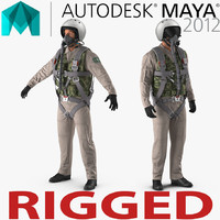 Russian Jet Fighter Pilot Rigged for Maya