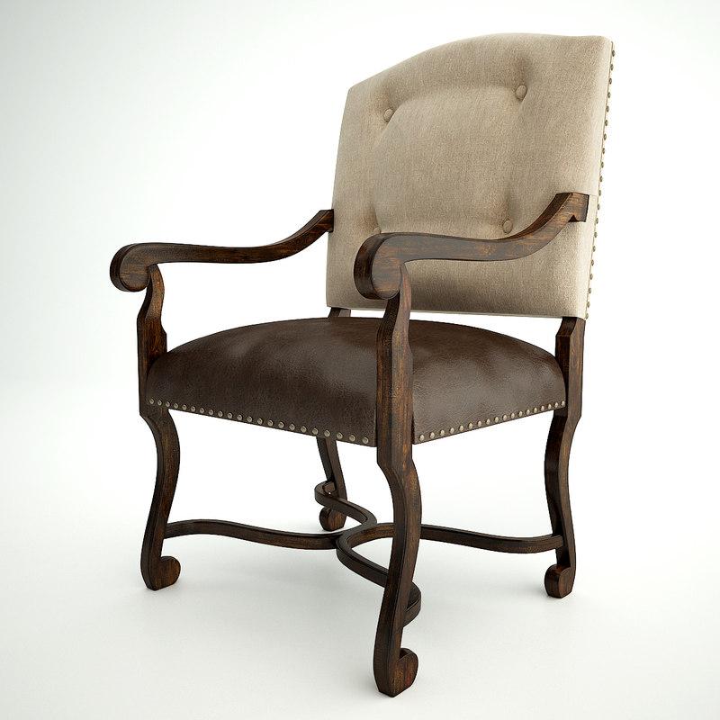 treviso camelback arm chair 3d model