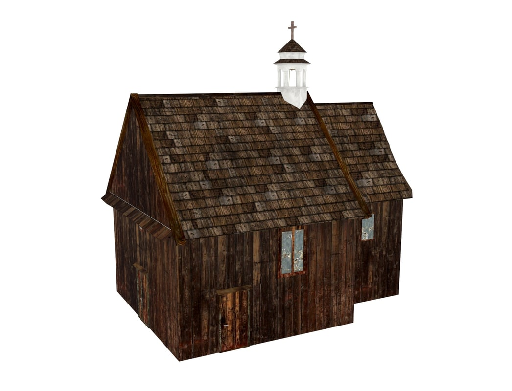 3ds church wooden