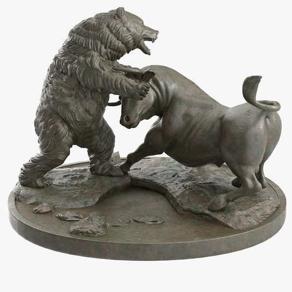 3d model bull bear fighting bronze