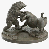3d model bull bear fighting bronze