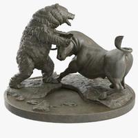 Bull and Bear Fighting Bronze Statue