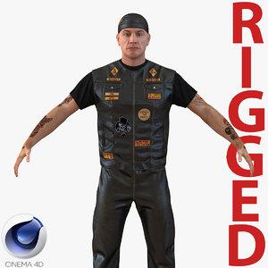3d model biker man rigged