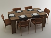 3D table and chair (Alegra) EnzaHome